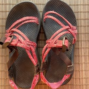Chaco's, Brown Platform/Pink Sandals, No toe strap